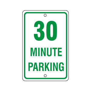 30 Minute Parking Sign Green