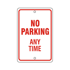 No Parking Any Time Red