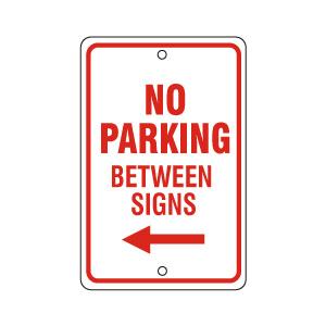 No Parking Between Signs Left Red