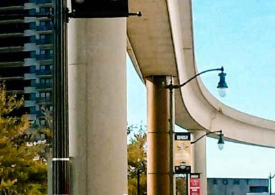 MCM Visitors greeted by Lightpole Banners photographed near the iconic people mover
