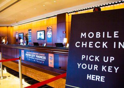 Front Desk Welcome Signage at RenCen Detroit Marriott