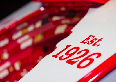 Close up showing the finishing detail applied when creating this unique theater organ for Detroit Red Wings and Little Caesars Arena