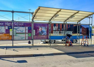 Bus Station Graphic Updates in way of Adhesive Vinyl Decal Wraps